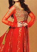 Red Jamawar Chiffon Suit- Pakistani Party Wear Dress