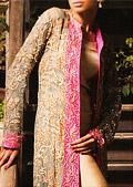 Golden Crinkle Chiffon Suit- Pakistani Party Wear Dress
