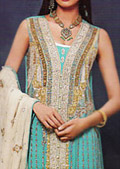 Turquoise/Cream Crinkle Chiffon Suit - Pakistani Party Wear Dress