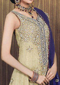 Light Golden Crinkle Chiffon Lehnga- Pakistani Wedding Dress