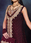 Maroon Crinkle Chiffon Lehnga - Pakistani Wedding Dress