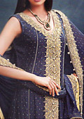Navy Blue/Magenta Crinkle Chiffon Suit- Pakistani Formal Designer Dress