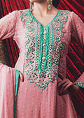 Tea Pink Jamawar Chiffon Suit - Pakistani Formal Designer Dress