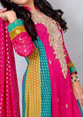 Multicolor Jamawar Chiffon Suit- Pakistani Party Wear Dress