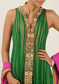 Green Crinkle Chiffon Suit- Pakistani Party Wear Dress