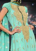 Light Turquoise Jamawar Chiffon Suit - Pakistani Formal Designer Dress
