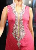 Hot Pink Crinkle Chiffon Suit - Pakistani Formal Designer Dress