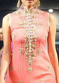 Peach Crinkle Chiffon Suit - Pakistani Party Wear Dress