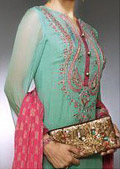 Sea Green/Red Crinkle Chiffon Suit   - Pakistani Party Wear Dress