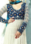 White/Blue Crinkle Chiffon Suit - Pakistani Formal Designer Dress