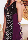 Dark Purple Crinkle Chiffon Suit- Pakistani Formal Designer Dress