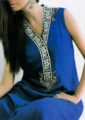 Royal Blue Crinkle Chiffon Suit- Pakistani Formal Designer Dress