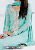 Light Turquoise Crinkle Chiffon Suit- Pakistani Formal Designer Dress