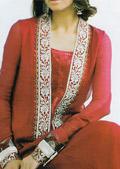 Red Crinkle Chiffon Suit- Pakistani Party Wear Dress