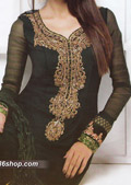 Bottle Green Crinkle Chiffon Suit - Pakistani Formal Designer Dress