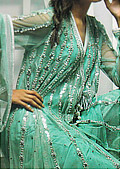 Sea Green Crinkle Chiffon Suit- Pakistani designer dress