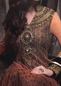 Brown Chiffon Suit - Pakistani Party Wear Dress
