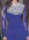 Royal Blue Crinkle Chiffon Suit- Pakistani designer clothing