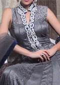 Grey Crinkle Chiffon Suit- Pakistani designer dress