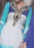 White/Turquoise Crinkle Chiffon Suit- Pakistani Party Wear Dress