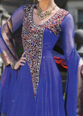 Royal Blue Crinkle Chiffon Suit