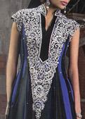 Black/Blue Crinkle Chiffon Suit- Pakistani Formal Designer Dress