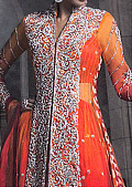 Orange/Red Jamawar Chiffon Lehnga- Pakistani Formal Designer Dress