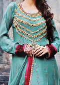 Sea Green Crinkle Chiffon Suit- Pakistani Party Wear Dress