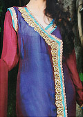 Blue/Red Crinkle Chiffon Suit- Pakistani Formal Designer Dress