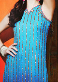 Blue Crinkle Chiffon Suit- Pakistani Party Wear Dress
