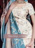 Off-White Silk Lehnga- Pakistani Party Wear Dress