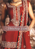 Deep Red Chiffon/Jamawar Lehnga- Pakistani Party Wear Dress