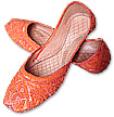 Ladies khussa- Orange   - Pakistani Khussa Shoes