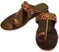 Ladies Slip-on Khussa- Brown- Khussa Shoes for Women