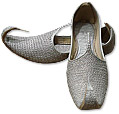 Gents khussa- Silver - Khussa Shoes for Men