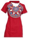 Red Khaddi Cotton Suit- Pakistani Casual Dress