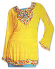 Yellow/Turquoise Chiffon Trouser Suit- Indian Semi Party Dress