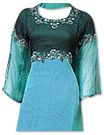 Turquoise/navy Blue Chiffon Suit- Indian Dress