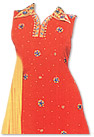 Orange/Yellow Chiffon Suit- Indian Semi Party Dress