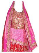 Pink/Red Pure Katan Silk Lehnga