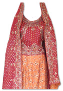 Maroon/Orange Pure Katan Silk Lehnga- Pakistani Bridal Dress