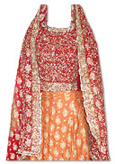 Red/Orange Pure Jamawar Silk Lehnga