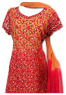 Orange/Red Crinkle Chiffon Suit