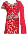 Red Jamawar Zarri Lehnga- Pakistani Wedding Dress