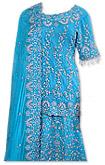 Turquoise Crinkle Chiffon Lehnga
