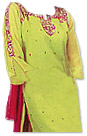 Parrot Green/Magenta Chiffon Suit
