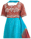 Brown/Turquoise Chiffon Anarkali Suit