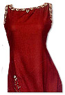 Maroon Raw Silk Trouser Suit- Indian Semi Party Dress