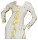 Off-White/Mustard Georgette Suit- Pakistani Casual Clothes