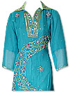 Turquoise/Parrot Green Chiffon Suit- Indian Semi Party Dress